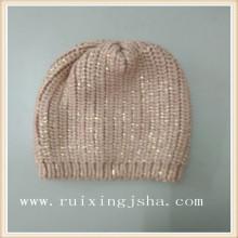Folha de ouro moda senhora impresso chapéu de malha