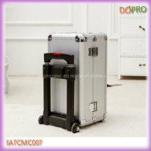 Прочный алюминиевый красоты косметический чемодан с тележкой (SATCMC007)