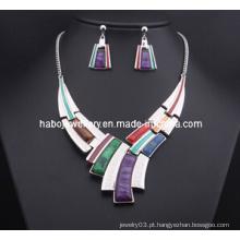 Conjunto de jóias de pedra quadrado / colar de moda (xjw13204)