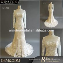 MOQ1 Pc en Chine à la main à manches longues rond décolleté robe de mariée, sirène robe de mariée 2016