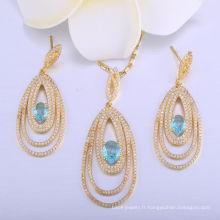 18k or merveille femmes pendentif collier dames bijoux ensemble bijoux boucle d'oreille