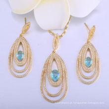 18k ouro maravilha mulheres pingente de colar senhoras jóias conjunto de jóias brinco