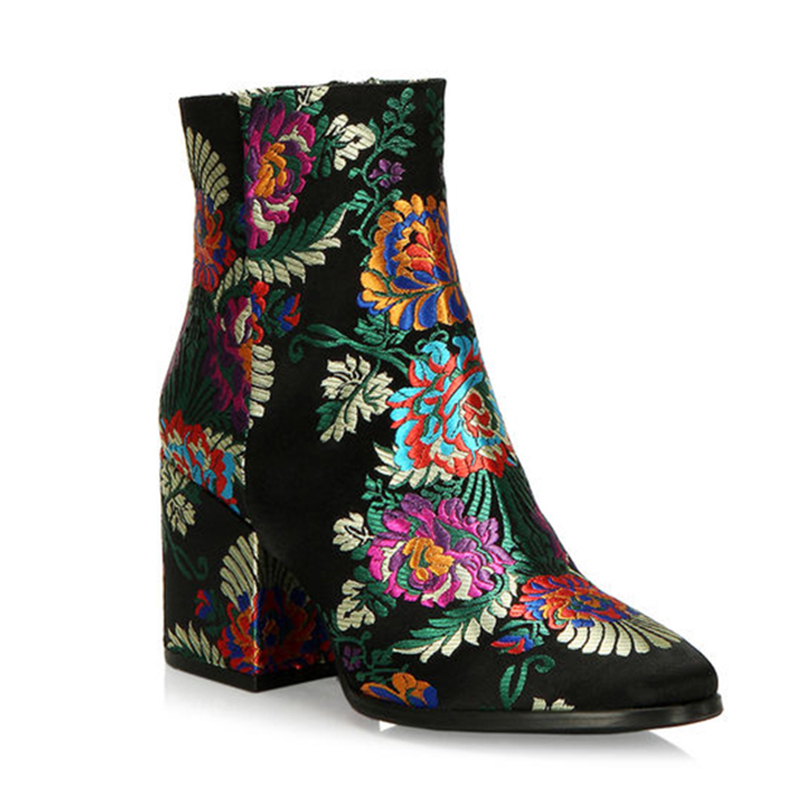 fabric suede embroidered special design ankle boots