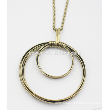 Bronze rodada pingente de colar de metal liga vintage grande colar de Bronze