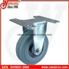 3 Inch Gray Rubber Fixed Caster with Plain Bore