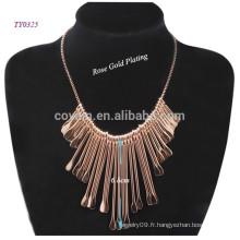 Nouveau fournisseur de collier de mode en acier inoxydable plaqué or en argent 2015 brillant en or / argenté en Chine