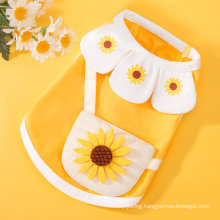 Spring and Summer Thin Puppy Dog Vest Two-Legged T-Shirt Petal Collar Shoulder Bag Cat Pet Clothes