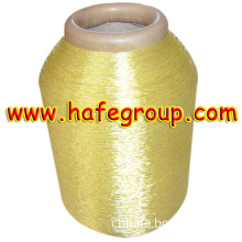 Pure Gold 600d Metallic Yarn on Polyester & Rayon & Cotton Yarn