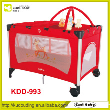 Manufacturer Hot Sales Red Baby Playpen Double Layer with Mattress Diaper Changer Toy Bar with 5 Toys Foldable Baby Playpen