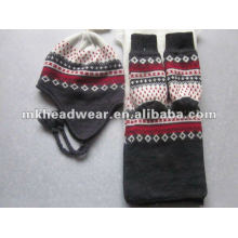 women's winter warm machine knitted hat, scarf & glove