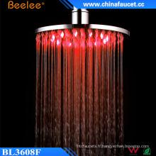 Beelee Pommeau de douche tournant de chrome de salle de bains ronde de 8 pouces LED