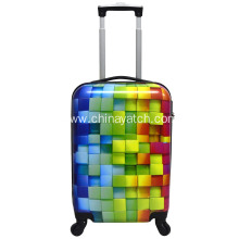 3D Rainbow PC luggage set with normal accessories