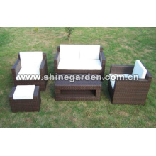 Al aire libre muebles de mimbre 5 piezas chat conjunto peluche cojines