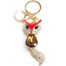 2015 best selling promotional owl rhinestone metal keychain wholesale Yiwu