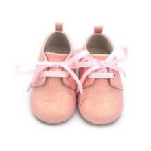 Baby Oxford Skor Pink Glitter Girls Baby Footwear
