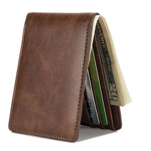 Luxury Rfid Short Slim Wallet Leather para Hombres