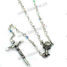 Diamond Shape Catholic Crucifix Rosary Necklace with Saint Chalice Centerpiece