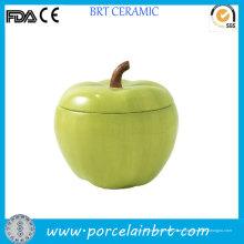 Tarro de galleta con forma de manzana verde cerámica