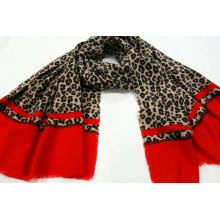 leopard print and red color on two botton side scarf  fringe on four side super soft hand feeling