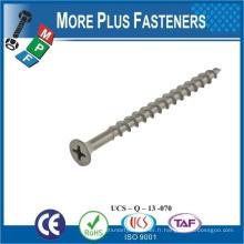 Fabriqué en Taiwan Non Chine Produits Acier au carbone Vis métallique sur bois Flat Head Wood Screw