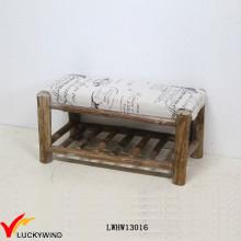 País Banco de madera Vintage Banco tapizado con un estante