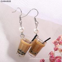 Wholesale Hand - Made Pearl Milk Tea Cup Bottle Girl Earrings Pendant