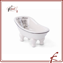 decal decorate ceramic bathtub shaped soap dish with drain hole