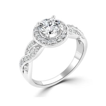 Кольцо с бриллиантами из серебристого галлона с бриллиантами