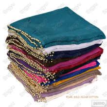 Nuevas tendencias alta moda musulmán chal modesto llano bufanda gasa de algodón perla hijab