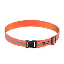 4CM Width Custom Logo Adjustable Size Warning Orange Elastic Reflective Belt for Running