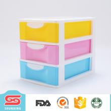 caja de almacenamiento plástica del cajón de tres capas 4 colores con alta calidad