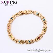 75187 Xuping top grade colorido malvado pulsera de cadena de oro sin piedra de imitación de joyería