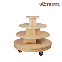 Wooden Apparel Rolling Display Stands for Retails