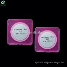 50mm 0.22 microns, filtre de membrane de PVDF, membrane microporeuse de solvant organique de la résistance à hautes températures de la résine 100Pcs / boîte