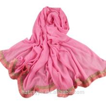 Top selling printed plain cotton shawl scarf muslim cotton tassels trim hijab