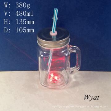 16oz Glass Lights Mason Jar Glass Mason Jar with Straw and Lid