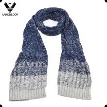 Two Tone Ab Yarn Men′s Winter Knitting Scarf