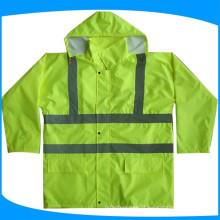 Capa longa impermeável de segurança de alta visibilidade, jaquetas de prova de água reflexivo