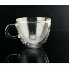 Copa de cofre de vidrio de borosilicato doble transparente