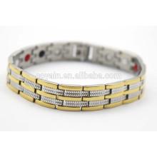 Iones negativos equilíbrio Power Engergy saudável germânio infravermelho raio 18k banhado a ouro bracelete pulseiras magnéticas para as mulheres