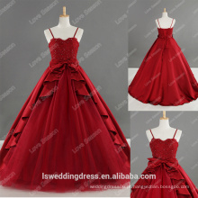 LS0187 100% real de renda de noiva com fitas de espartilho vermelhas de esparguete vestido de baile vestido de espaguete tafetão vestido de vestido de cetim vestido de cetim