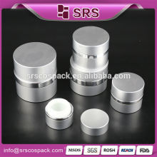 Qualidade superior forma redonda alumínio prata bom design acrílico jar embalagem cosméticos rodada