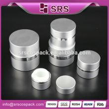 Круглая форма качества высшего качества Алюминий серебристый Хороший дизайн Акриловая банка Косметическая упаковка Раунд