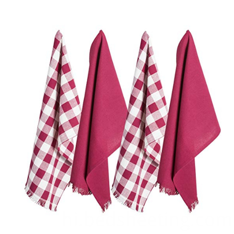 Cotton Wine Check Tea Towels