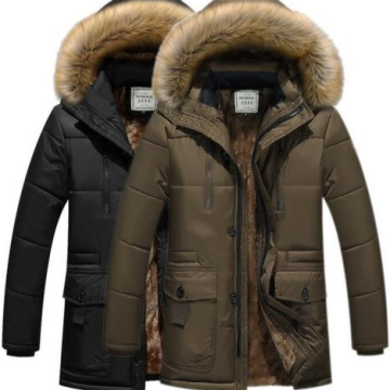 Hot Mens Fur Hooded Kentalkan Warm Parka Coat