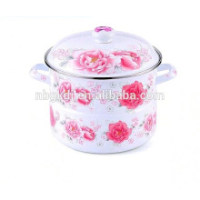 enamel steamer pot with full decal&ceramic knob