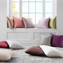 Solid Color Satin Silk Pillowcase Cushion Cover