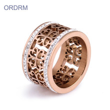 Rose Gold Fesyen berlian buatan Ring Band For Girl