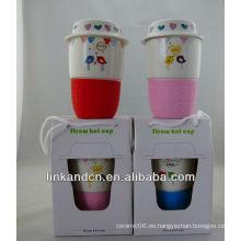 KC-01221 taza cerámica, tapa de silicona de cerámica