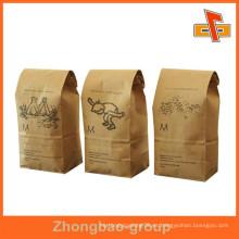 Fabricado en fábrica Guanghzhou reutilizables de papel de encargo de pie hasta bolsas de papel Bolsa con punta de estaño